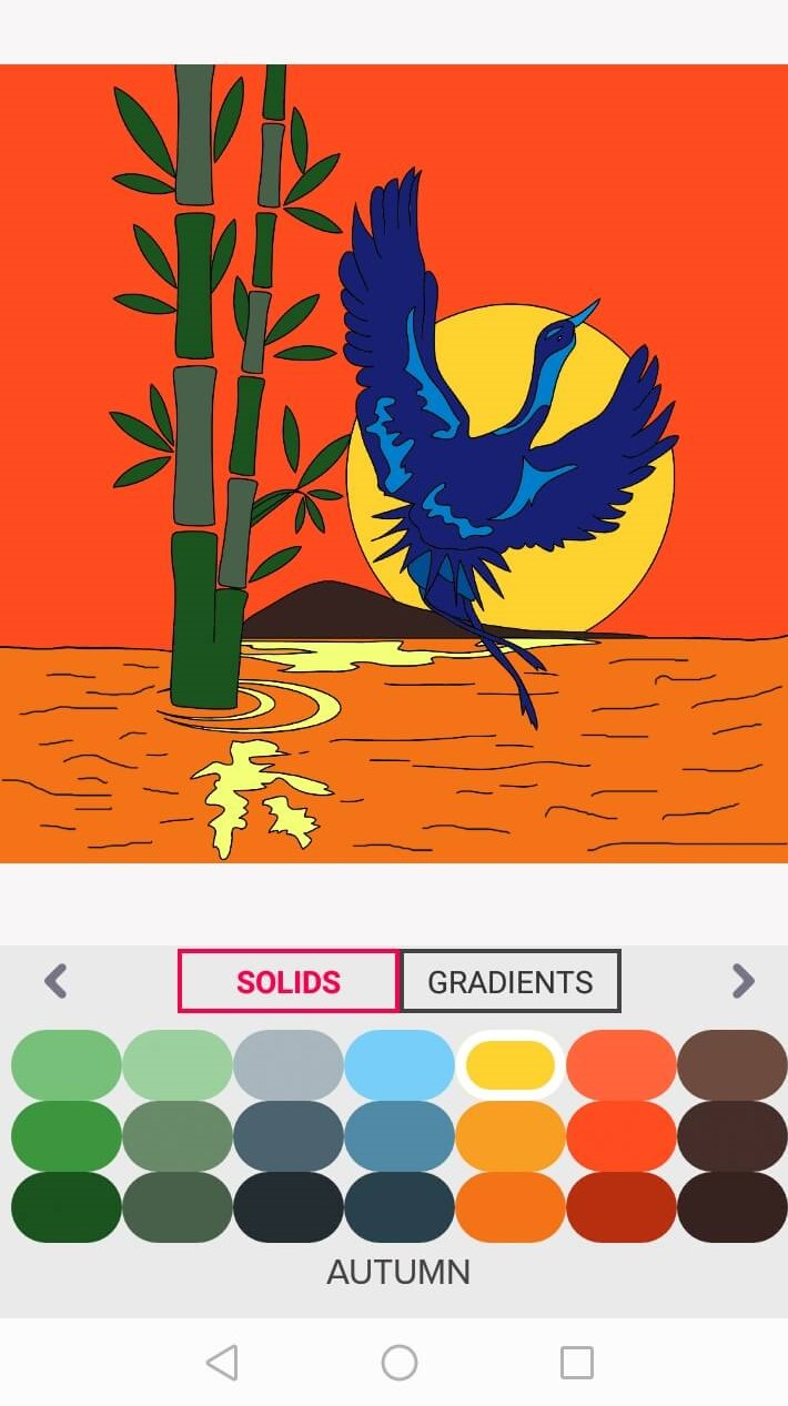 crane and bamboo - free coloring pages