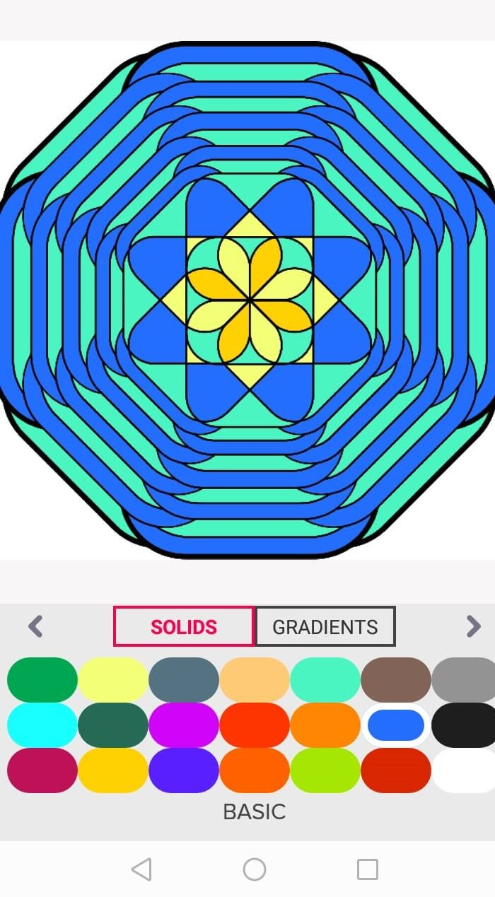 blue and light green mandala - stay home and color